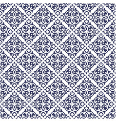Blue damask seamless pattern backdrop vector