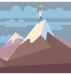 Businessman holding flag on mountain peak success vector image