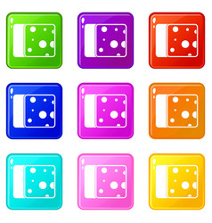 Cheese icons 9 set vector