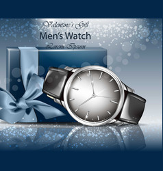 classic man watch and gift box realistic vector image