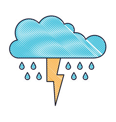 Cloud with rain and thunderbolt in colored crayon vector