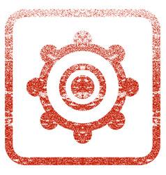 Cog wheel framed textured icon vector