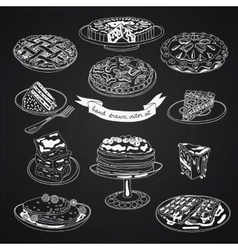 collection of pie cakes and sweets icons vector image