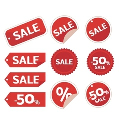Collection of sale discount origami vector image vector image