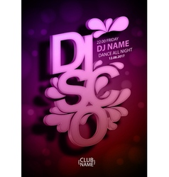 Disco poster background vector