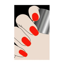 Female fingers with red varnish vector