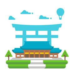 Flat design meiji shrine tokyo vector