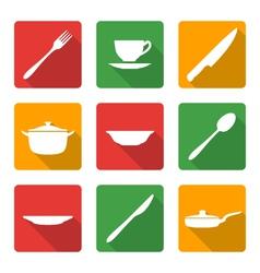 flat white dinnerwarwe icons vector image vector image