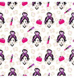 Glam girl sketch beauty seamless pattern vector