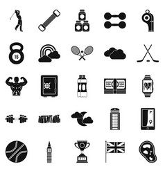 golf equipment icons set simple style vector image