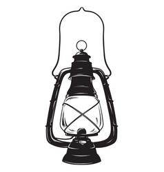 Grunge sketch vintage oil lantern kerosene lamp vector