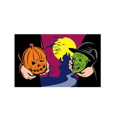 Halloween mask jack-o-lantern witch retro vector