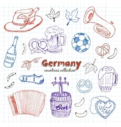Hand drawn doodle germany travel set vector