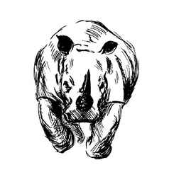 Hand sketch of the running rhino vector image