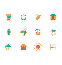 Hawaiian vacations flat color icons set vector