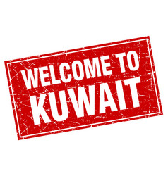 Kuwait red square grunge welcome to stamp vector