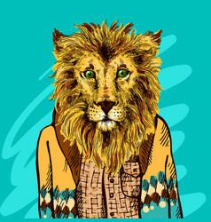 Lion in knitted sweater vector