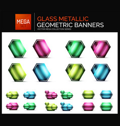 mega collection of glossy geometric shiny glass vector image vector image