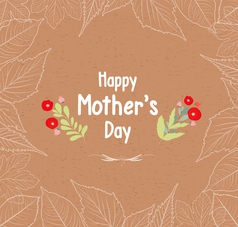 Mothers day leaves border retro vector