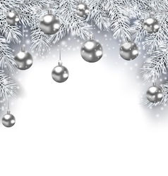 New Year Snowing Background with Silver Christmas vector image