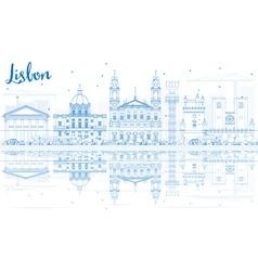 Outline lisbon skyline with blue buildings vector