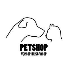 Petshop dog and cat profile icon vector