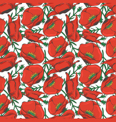 Red poppy seamles pattern design - floral fashion vector