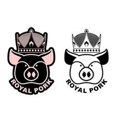 Royal pork emblem Pig in crown Logo for farming vector image vector image