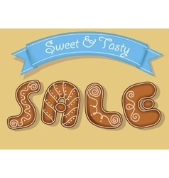 Sale Inscription by gingerbread cookies font vector image vector image