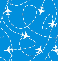 Seamless Pattern with Airplanes in the Sky vector image