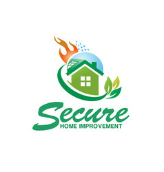 Secure house fire logo design vector