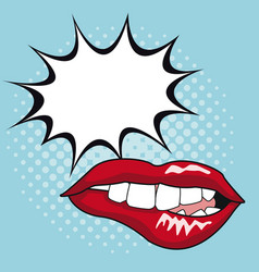sexy lips pop art with speech bubble vector image