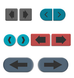 stylish multicolored web buttons with 3d effec vector image