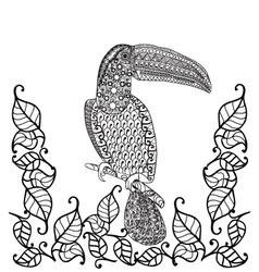Toucan bird anti-stress coloring book for adults vector