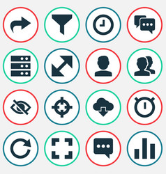 User icons set with strainer conceal quest and vector