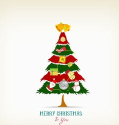 vintage christmas tree with icon and element vector image