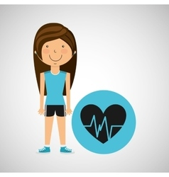 Athlete girl heart pulse sport style vector