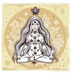 Girl in meditation vector image