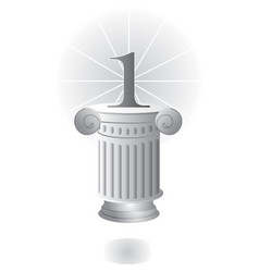 Pedestal with column and number one vector
