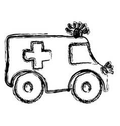 Monochrome hand drawn sketch of ambulance vector