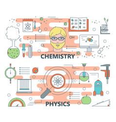 Thin line flat design chemistry and physics vector