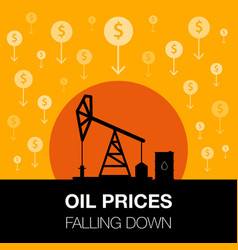 Oil industry concept oil price falling down with vector