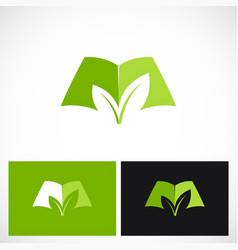 open book green ecology logo vector image