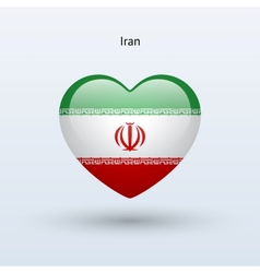 Love iran symbol heart flag icon vector