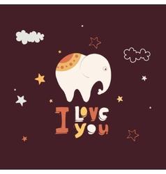 cute card with elephant vector image