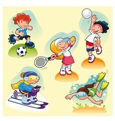 Sport characters with background vector