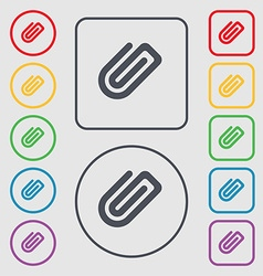 Paper clip icon sign symbol on the round and vector