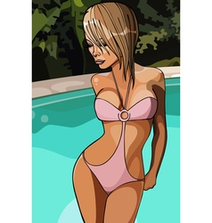 Cartoon woman in a swimsuit by the pool vector