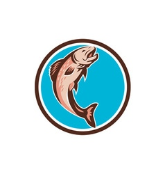 Trout jumping circle retro vector