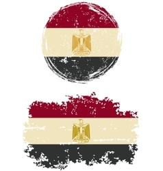 Egyptian round and square grunge flags vector